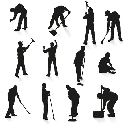 sweeping: Set of twelve black silhouettes of cleaners