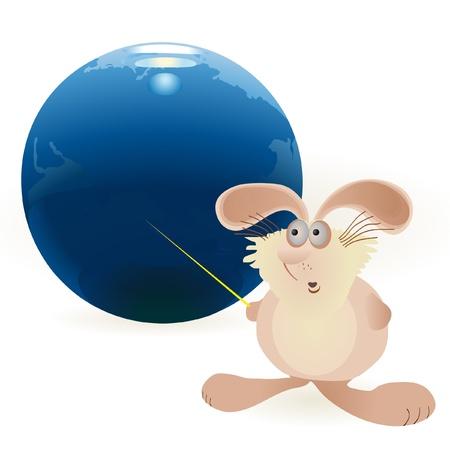 Little hare and Globe Illustration