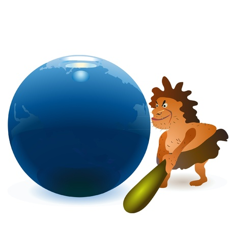a cudgel: Caveman striking the globe with big cudgel