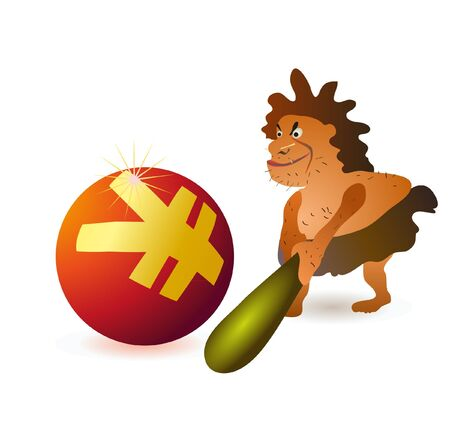 a cudgel: Caveman striking big Yuan ball with big cudgel