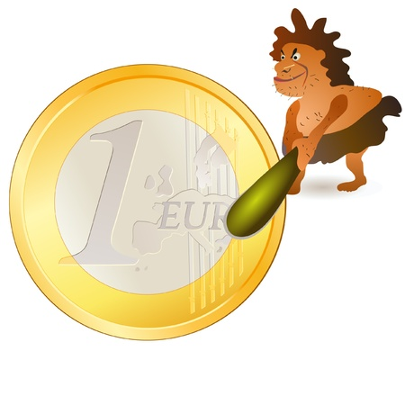 a cudgel: Caveman striking big Euro coin with big cudgel