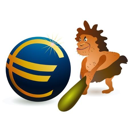 compatible: Caveman striking big Euro ball with big cudgel Illustration