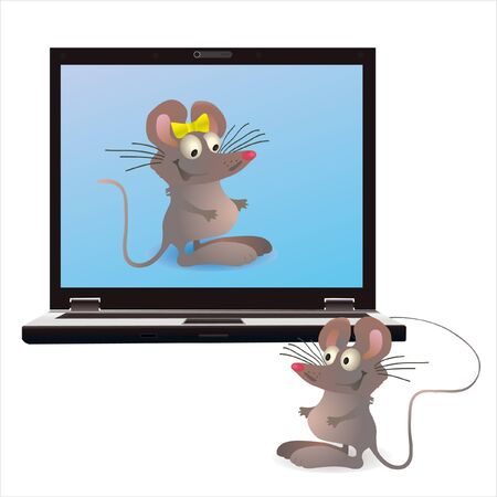 Notebook and two mouses on the screen and attached one Vector
