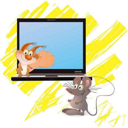 Little mouse and squirrel near notebook, yellow brush