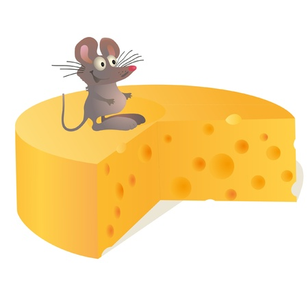 Little mouse near big cheese Vector