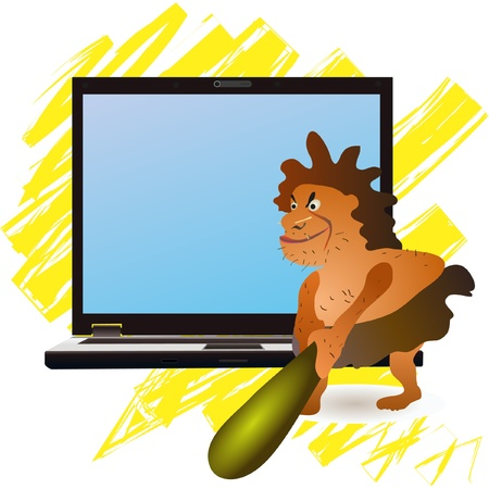 Caveman striking big  notebook yellow Stock Vector - 13106964