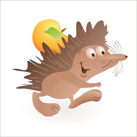 Funny hedgehog carring an apple Vector