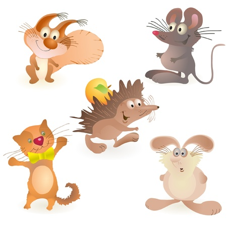 Set of five funny animals - mouse, rabbit, hedgehog, cat and squirrel