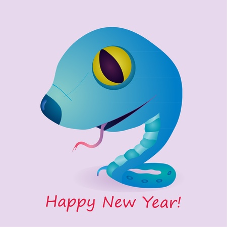 Funny blue little snake as a symbol of 2013 year of snake Stock Vector - 13183330