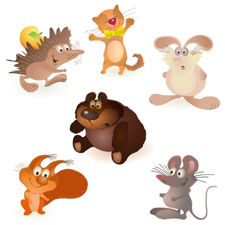Set of six funny animals - mouse, rabbit, bear, hedgehog, cat and squirrel Vector