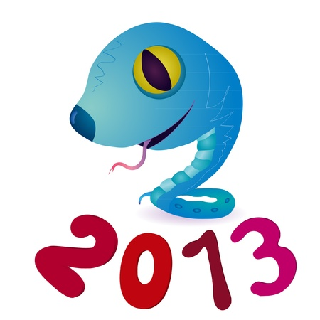 Funny blue little snake and symbols of 2013 New Year Vector