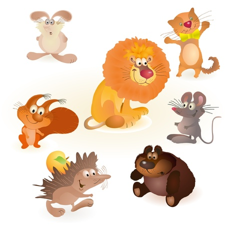 Set of seven funny animals - mouse, rabbit, bear, hedgehog, cat, lion, squirrel Stock Vector - 13277441