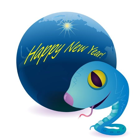 Little snake as a symbol of New Year  in front of Earth Vector