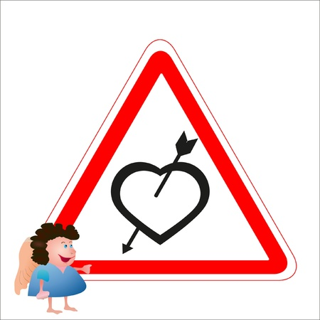 Little angel near the road heart sign with loving heart and arrow