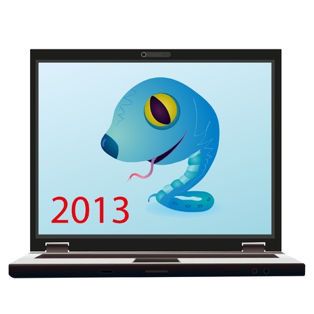 Little blue snake on the screen of notebook as a symbol of New Year 2013 Vector