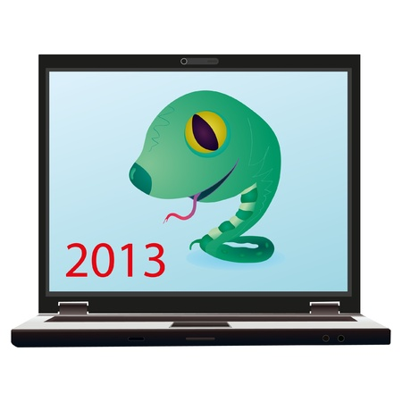 Little green snake on the screen of notebook as a symbol of New Year 2013 Vector