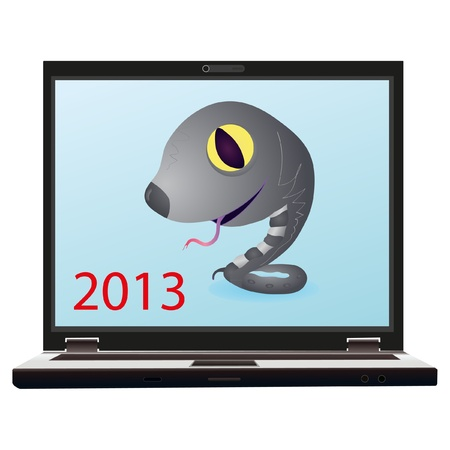 Little grey snake on the screen of notebook as a symbol of New Year 2013 Vector
