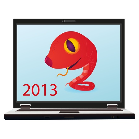 Little red snake on the screen of notebook as a symbol of New Year 2013 Stock Vector - 13368536