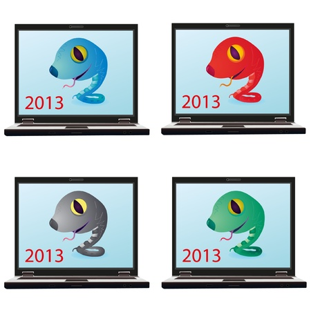 Set of four snakes on the screen of the notebook Vector
