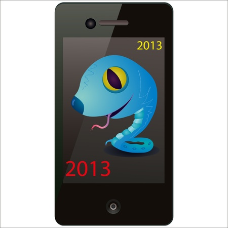 Blue snake on the screen of the phone Vector
