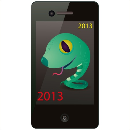 Green snake on the screen of the phone Vector