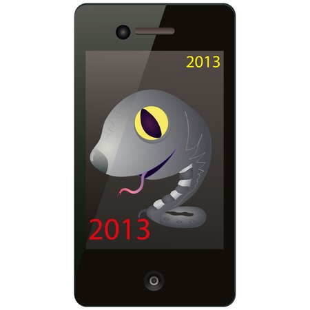 Grey snake on the screen of the phone Vector