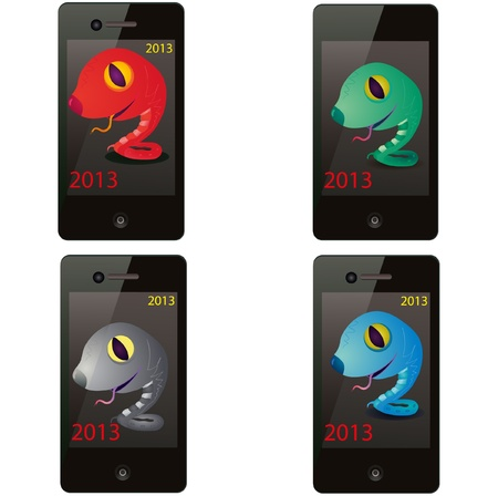 Set of four snakes on the screen of the phone Vector