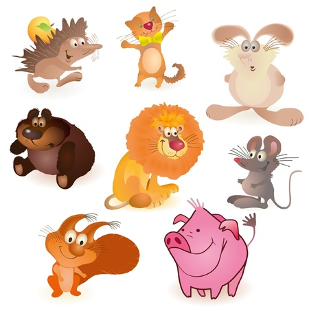 Set of eight  funny animals - mouse, pig,  rabbit, bear, hedgehog, cat, lion, squirrel Vector