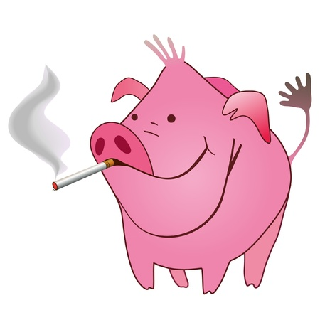 animation: Funny pig with a smoking cigarette in its mouse
