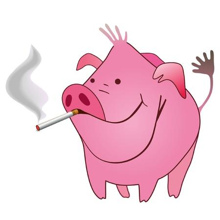 Maiale divertente con una sigaretta fumante in suo mouse