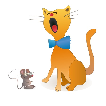 Funny cat and little mouse sitting near Illustration