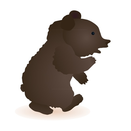 Little funny toy bear isolated on the white background