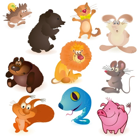 Set of ten funny animals Vector