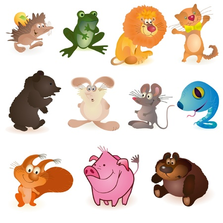 Set of eleven  funny animals Stock Vector - 13499491
