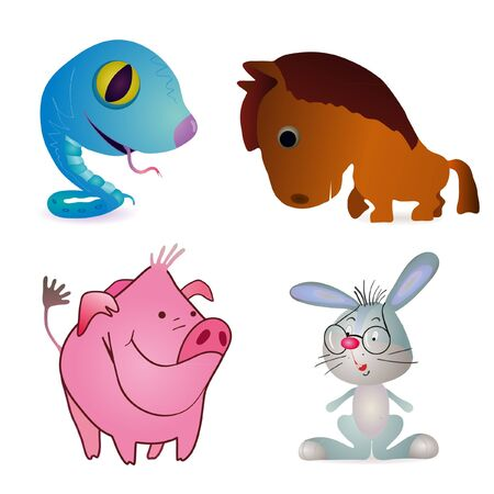 Set of four little funny animals - horse, rabbit, pig and snake Vector