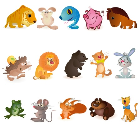 Set of  fiveteen funny animals Vector