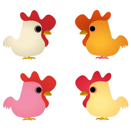 Set of four funny cocks Vector