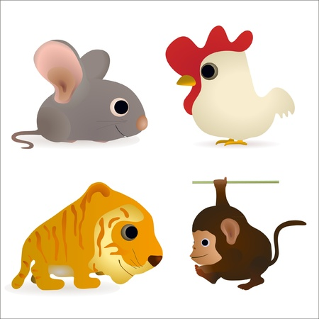 Set of four funny animals - mouse, cock, tiger, monkey Vector