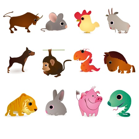 Set of twelve animals as symbols of oriental  New Years