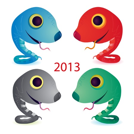 Set of four funny snakes Vector