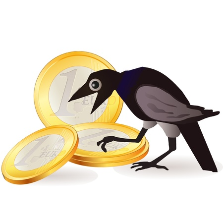 euro coins: Black crow with Euro coins