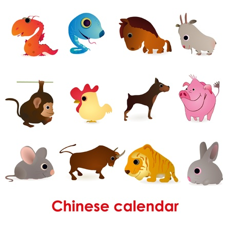Set of twelve funny animals of the Chinese calendar Illustration
