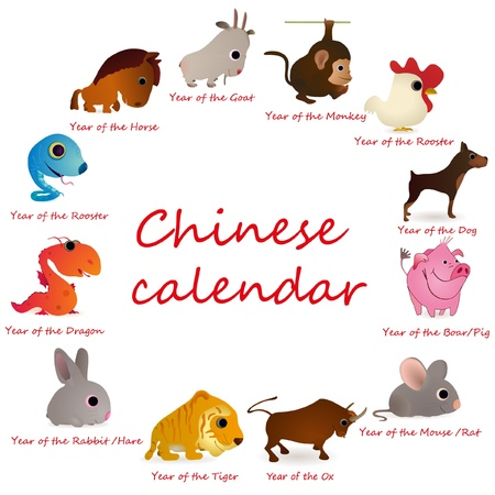 Chinese calendar with 12  animals Vector