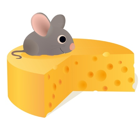Funny mouse on big cheese Vector