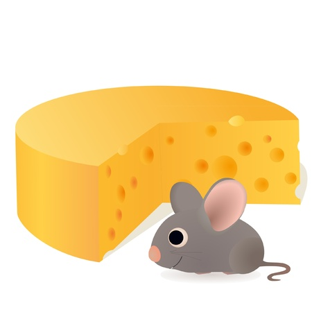Funny mouse near the cheese Vector