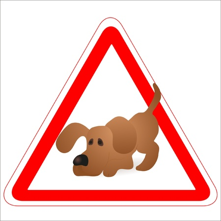 whelps: Warning sign with a funny Dog Illustration