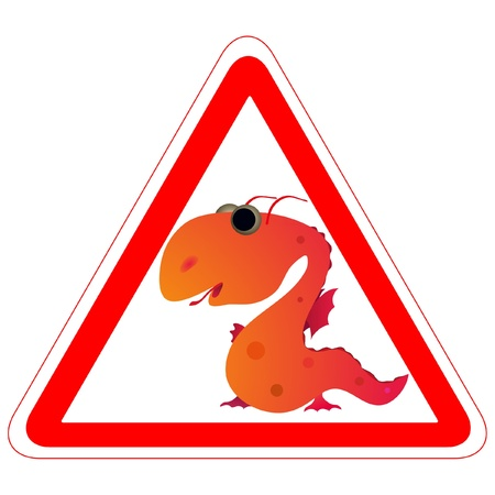 Warning sign with the Dragon Vector