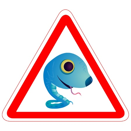 Warning sign with the Snake Stock Vector - 13903457