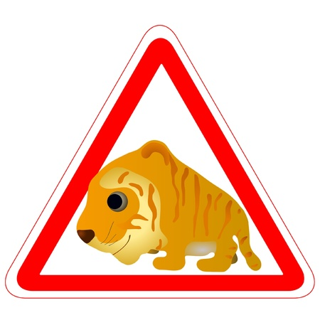 Warning sign with a funny Tiger Vector