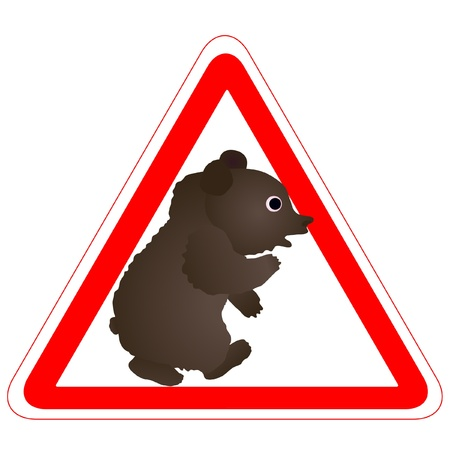 Warning sign with a funny Bear Stock Vector - 14006959